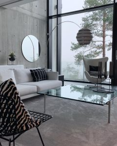 Concrete walls, great room height and big windows