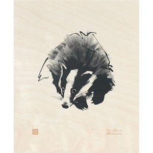 Teemu Järvi Illustrations Badger plywood poster