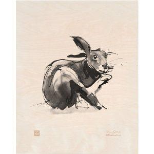 Teemu Järvi Illustrations European Hare plywood poster