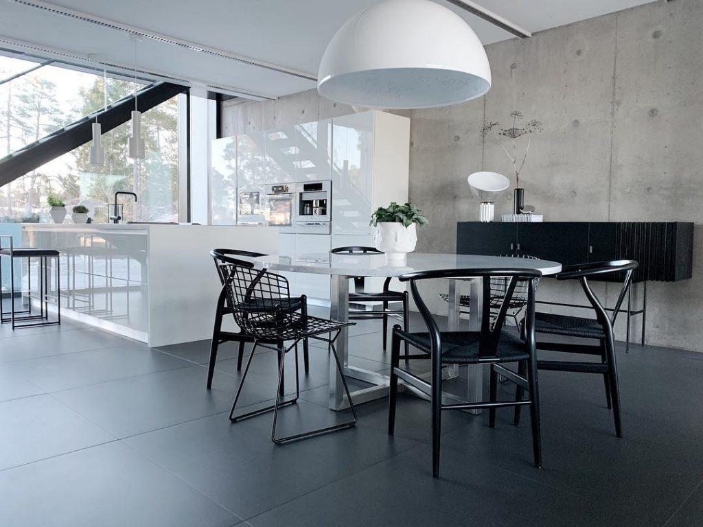 Glossy white and open kitchen design
